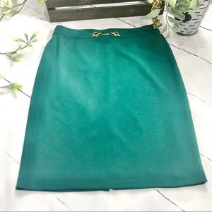 Knee length Forest Green Skirt with Elastic Waist